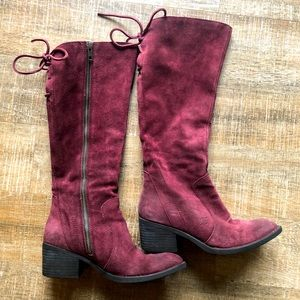 Born Felicia Red Suede Tie Tassel Tall Boots